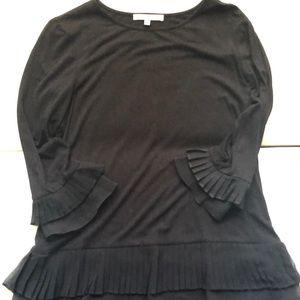 Black Ruffle Knit Top